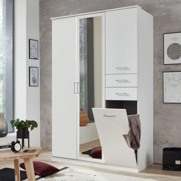Fresna 3 Door 2 Drawer Mirrored Wardrobe - White
