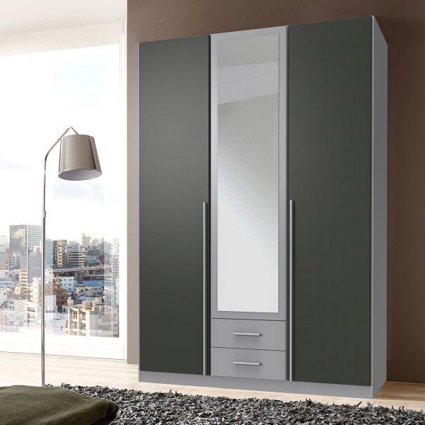 Husam 3 Door Mirrored Wardrobe - Grey