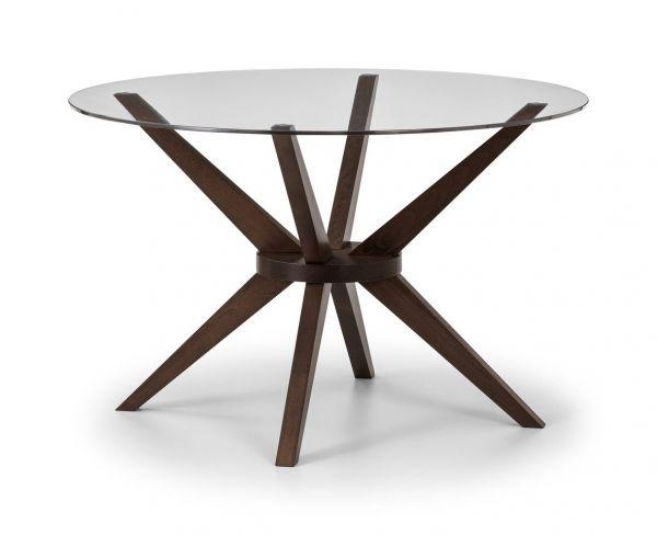 Julian Bowen Chelsea Round Glass Walnut Dining Table