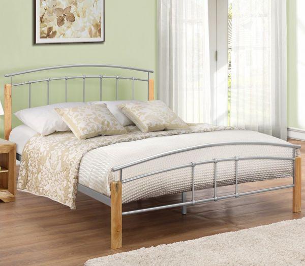 Birlea Tetras Beech & Silver Metal Bed Frame