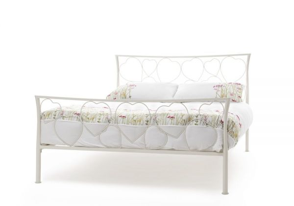 Chloe Ivory Gloss Metal Bed - Single or Double