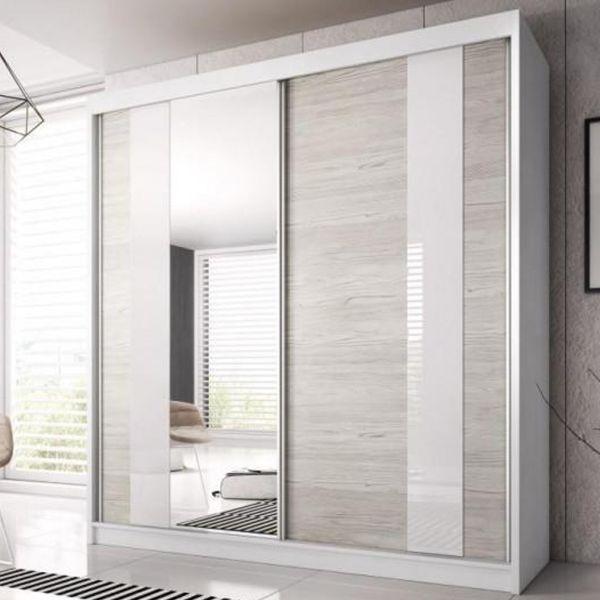 Mable-XII 2-Door Sliding Wardrobe - Kathult Oak & White