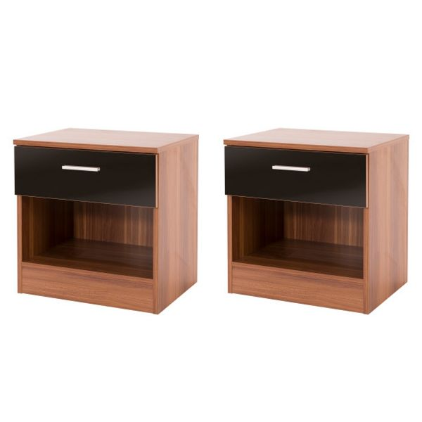 Ottawa 1 Drawer Bedside Table Pair x2 - 4 Colours