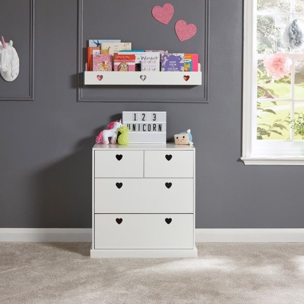 Love Hearts 2+2 Drawer Storage Chest - White