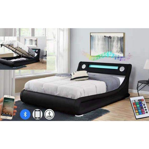 Bluetooth LED Ottoman Storage Bed - Double and Kingsize