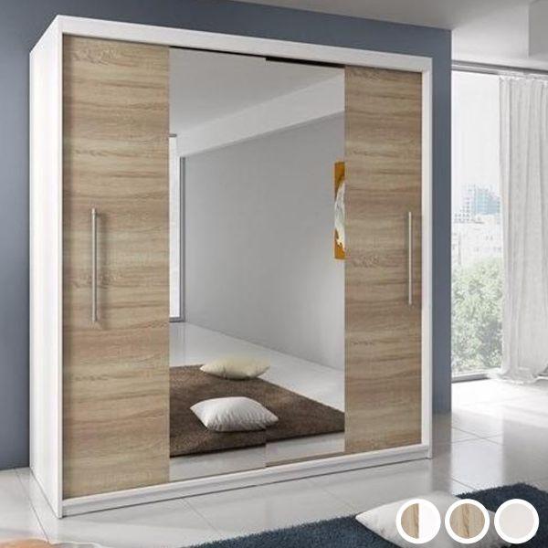 Tanis 2-Door Mirrored Sliding Wardrobe 204cm - Sonoma Oak or Matt White