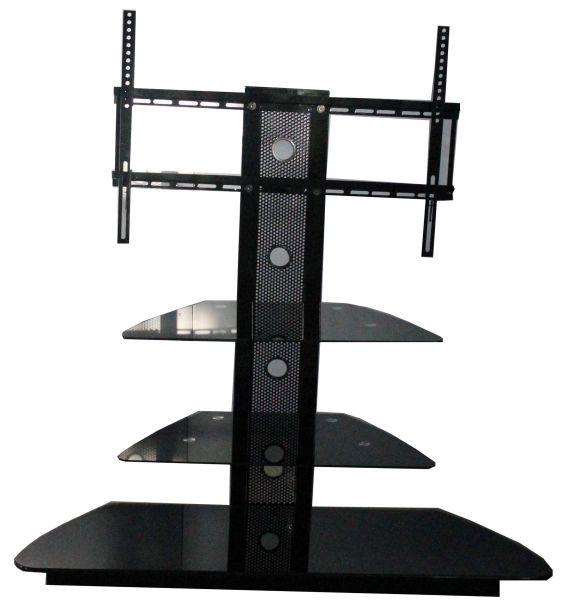 Trio 3-Shelf Black Glass TV Stand with Bracket
