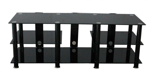 Osaka Large 3-Tier Black Glass TV Stand