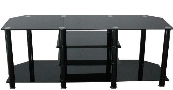 Berlin Large 3-Tier Black Glass TV Stand