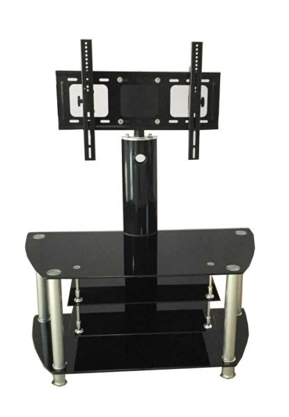 Crown Glass TV Stand with Bracket - Black