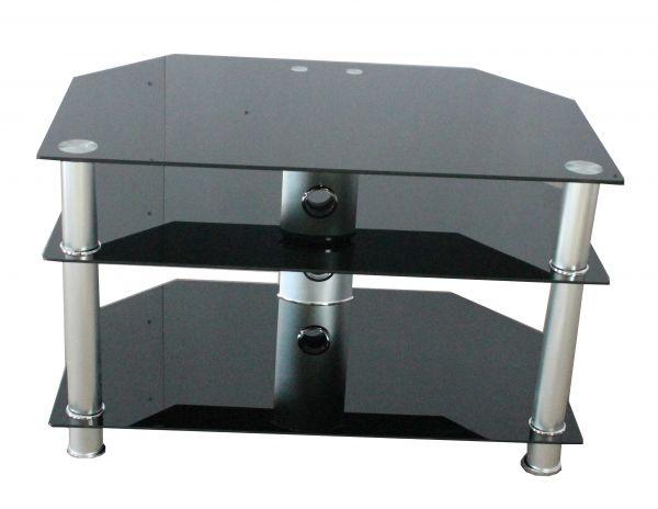 Billy Classic 3-Shelf Black Glass TV Stand