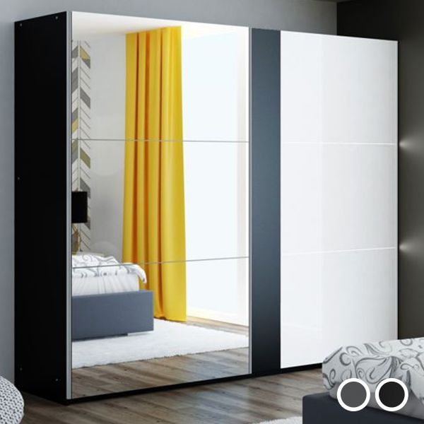 Tunis Lighting Mirror Luxury Sliding Wardrobe - Black, Grey