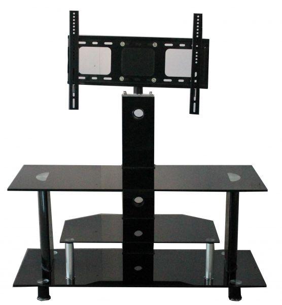 Buckingham 3-Shelf Black Glass TV Stand with Bracket