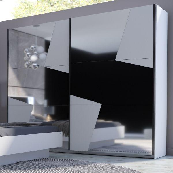 Felix White Mirrored 2-Door Sliding Wardrobe - 2 Sizes