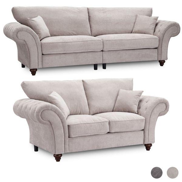 Windsor High Back 3 & 2 Fabric Sofa Set - Dark Grey or Stone
