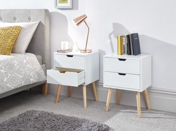 Nyborg 2-Drawer Bedside Table Pair x2- Dark Grey, Light Grey, White or Yellow