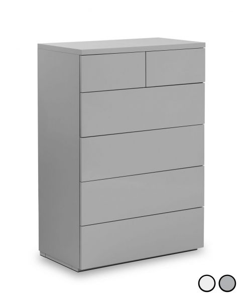 Julian Bowen Monaco 4+2 Drawer Gloss Chest - White or Grey