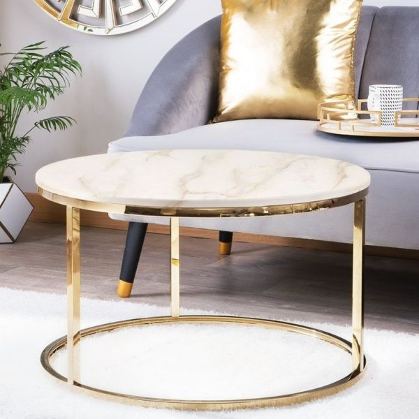 Carly White Marble Effect Coffee Table - 2 Colours
