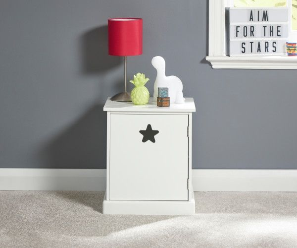 Star 1 Door Bedside Table - White