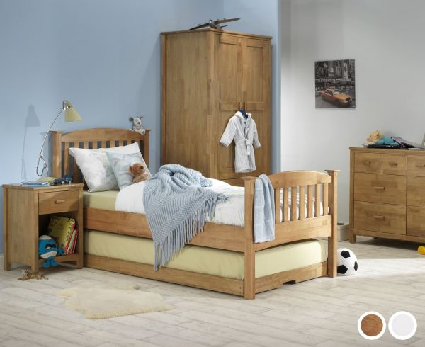 Eleanor High Footend Wood Guest Bed & Trundle - Oak or White
