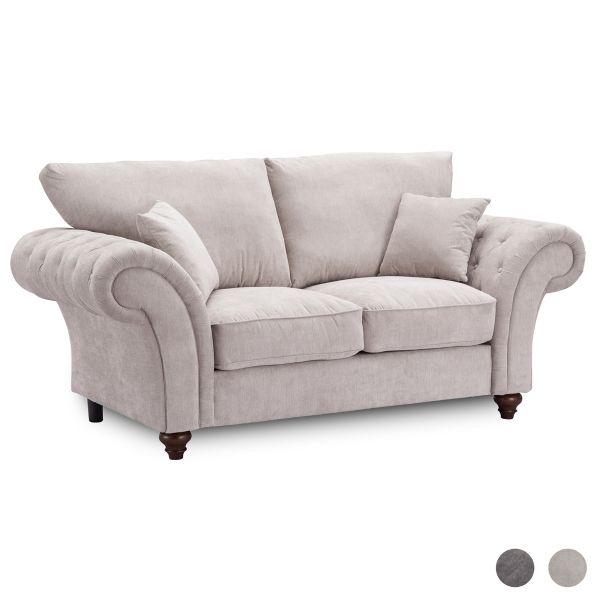 Windsor High Back 2 Seater Fabric Sofa - Dark Grey or Stone