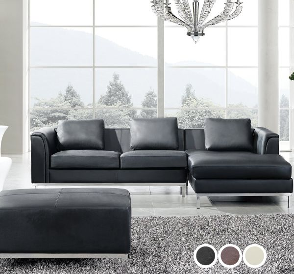 Islo Leather Corner Sofa with Ottoman - Black, Beige or Brown