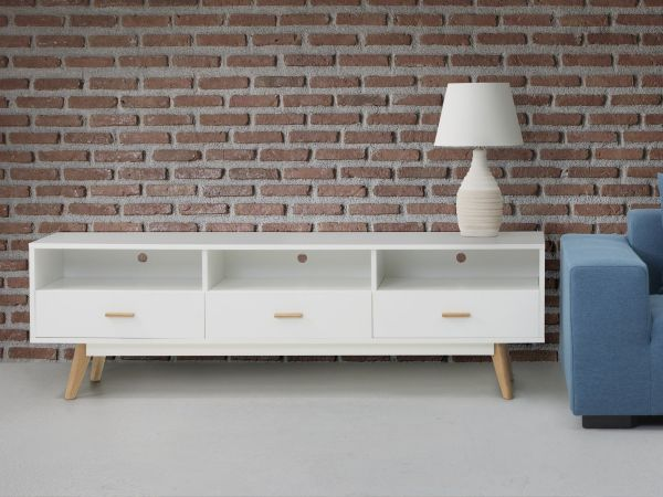 Libert Commode TV Stand with Shelving and Drawers - White