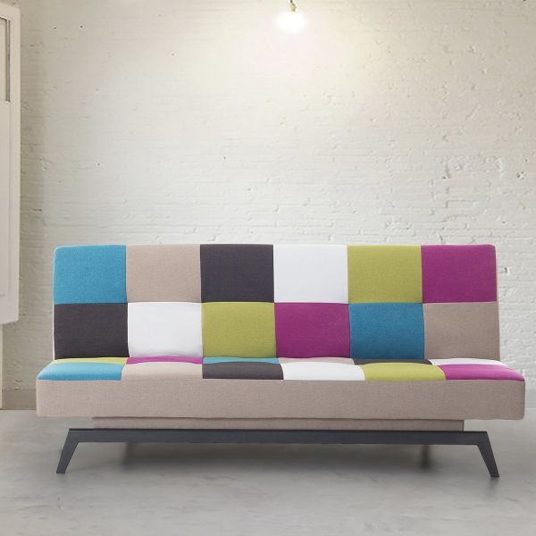 LEDS Fabric Sofa Bed with 3 Seater - Patchwork