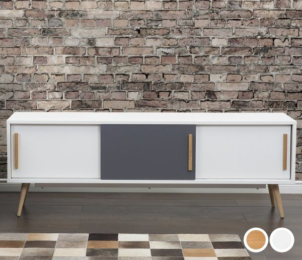 Indian TV Stand with Sliding Doors - White & Light Wood