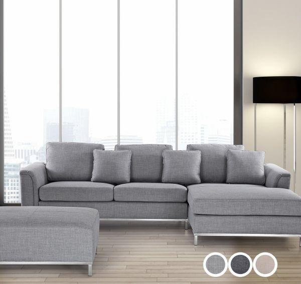 Islo Fabric Corner Sofa with Ottoman - Light Grey, Dark Grey or Beige