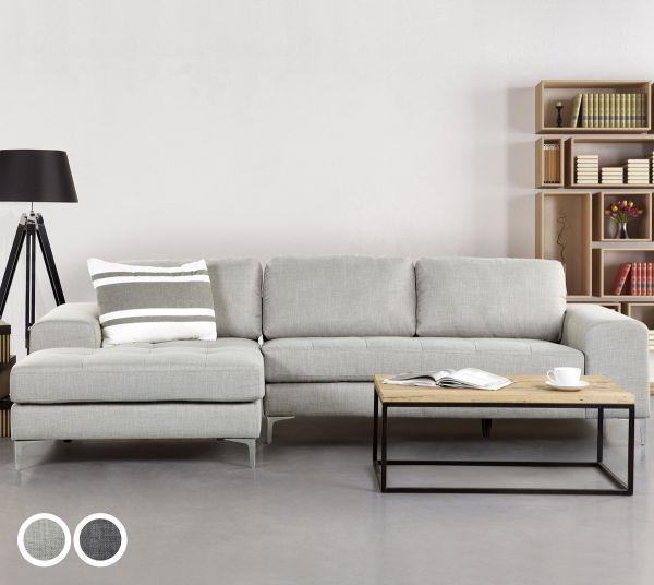Kirana Fabric Corner Sofa - Dark or Light Grey