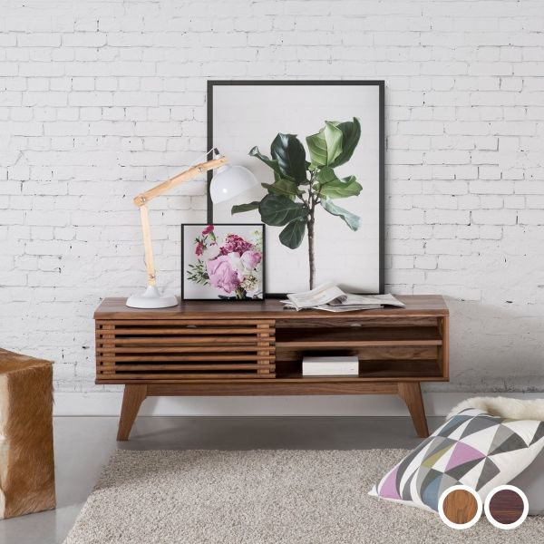 Toleto TV Stand with Shelving - White & Dark Wood