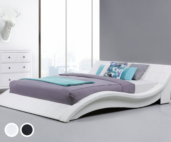 Vic Leather Bed - Black & White