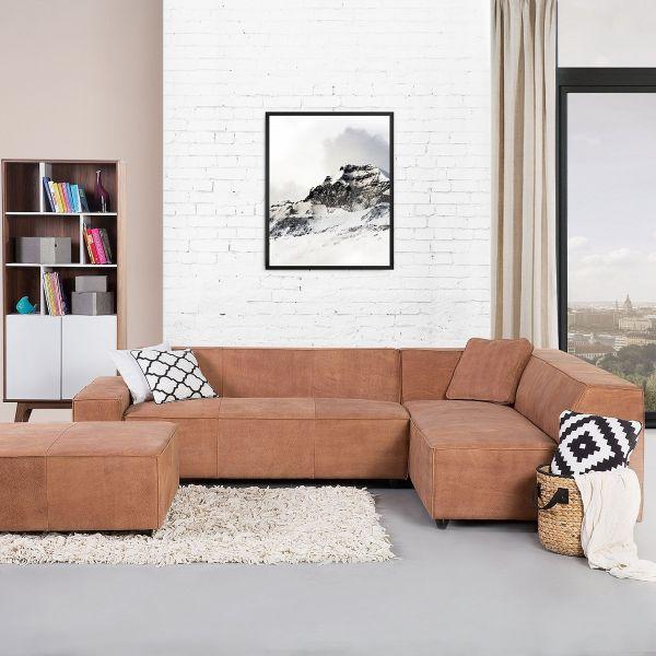 Ada Leather Corner Sofa - Brown