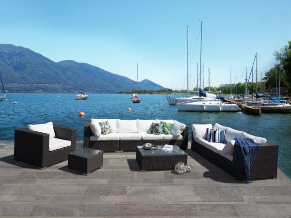 Master Wicker Garden Lounge Sofa Set - Black