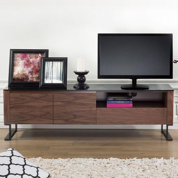 Elva TV Stand Cabinet Glass top Entertainment Unit - Brown