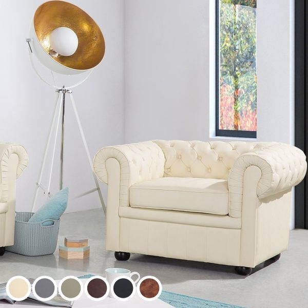 Chesterfield Leather Armchair - 6 Colours