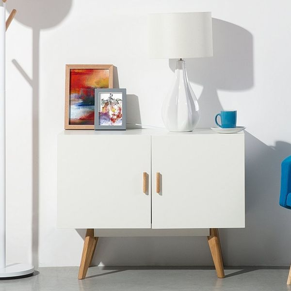 Sita Sideboard with Shelving & Cabinets - White