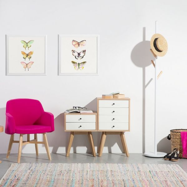 Anchorag 2 Drawer Bedside Table - White