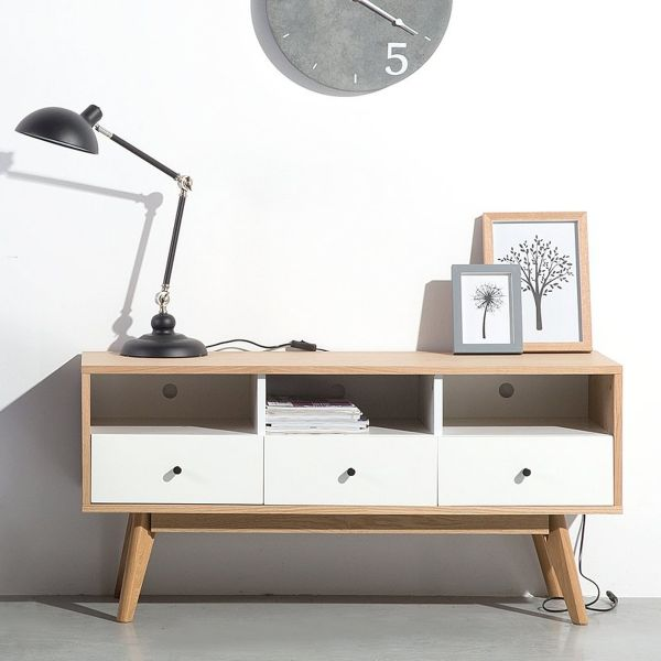 Tucso TV Stand with 3 Drawers - Wood & White