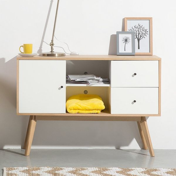 Valez Sideboard with Drawers - White & Light Wood