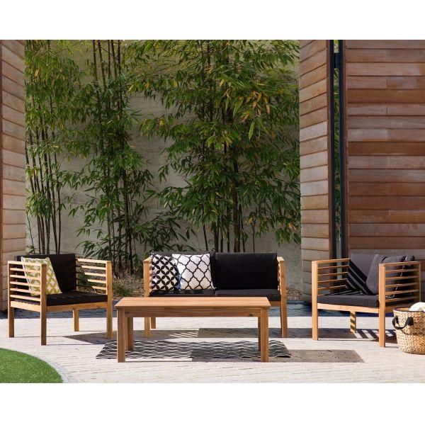 Pacify 4PC Wooden Garden Sofa Set - Black