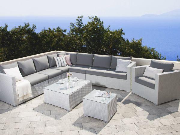 Large 8-Seat Rattan Corner Sofa Set - Grey or White