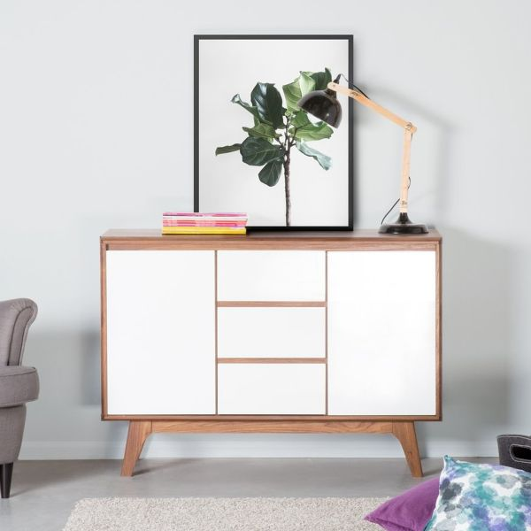 Pitsburg Sideboard - White with Dark Wood