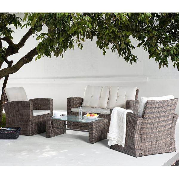 Lucas 4-Seat Rattan Garden Lounge Sofa Set - Brown