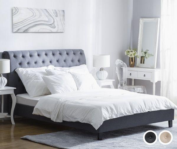 Remis Fabric Bed - Beige & Grey