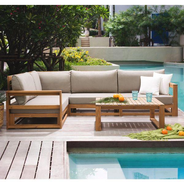 Tamor 5PC Wooden Sectional Garden Sofa Set - Grey