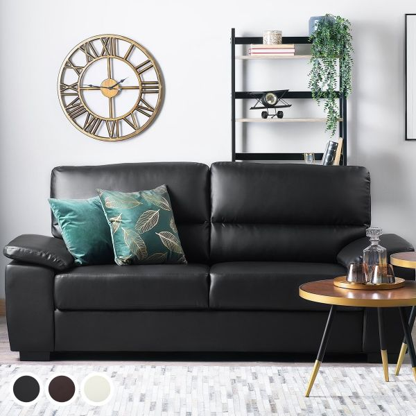 Vagar Faux Leather Sofa with 3 Seater - Black, Brown or Cream