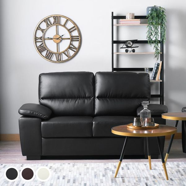 Vagar Faux Leather Sofa with 2 Seater - Black, Brown or Cream