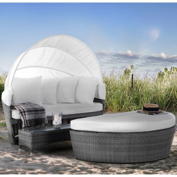 Sylux Round Rattan Garden Day Bed Set - Brown or Grey